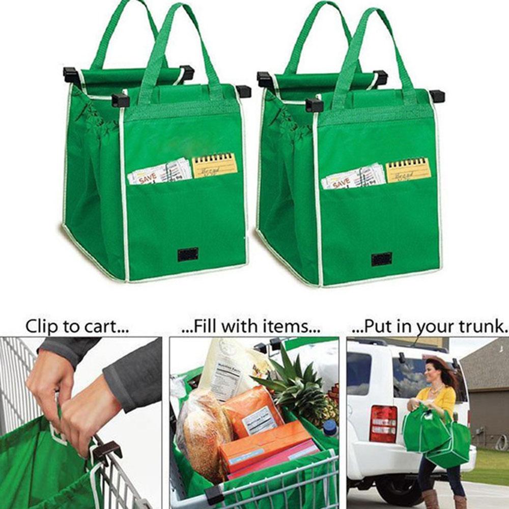 Foldable Tote Bag Oxford Shopping Bags GRAB BAG Green Nonwovens Supermarket Shopping Cart Shopping Bag TV New Supermarket Trolley Handbag