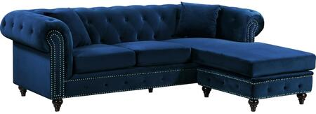 Sabrina Collection 667Navy-Sectional 96 2pc. Sectional with Velvet  Deep Tufted Back  Reversible Chaise  Double Row Chrome Nail Heads and Wooden