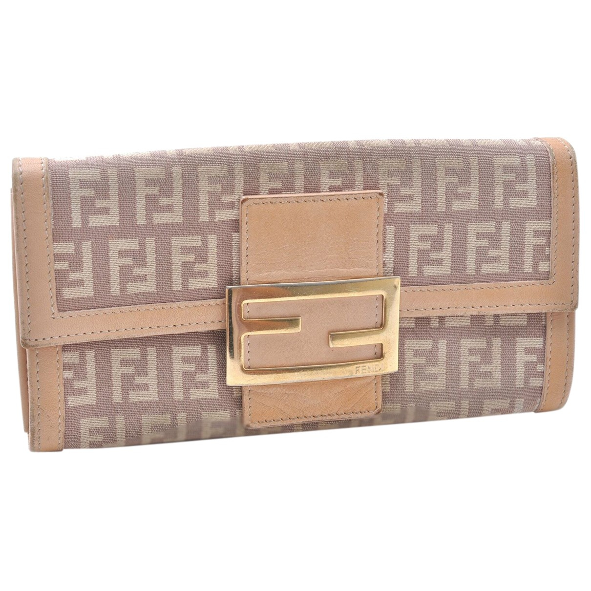 Fendi - Portefeuille   pour femme en toile - beige