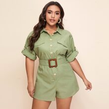 Plus Roll Tab Sleeve Flap Pocket Belted Shirt Romper