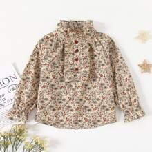 Blusas para niña pequeña Volante Plantas Casual