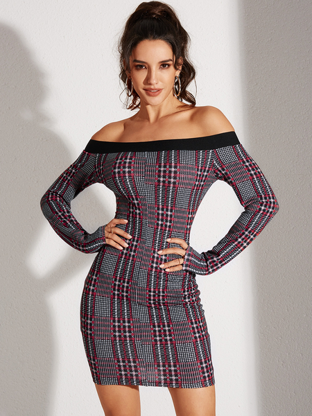 YOINS Red Zip Design Plaid Off The Shoulder Long Sleeves Dress