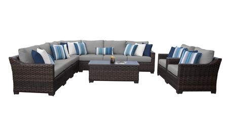 RIVER-10a-GREY Kathy Ireland Homes and Gardens River Brook 10-Piece Wicker Patio Set 10a - 1 Set of Truffle and 1 Set of Slate