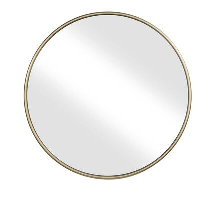 BM205956 Contemporary Style Round Metal Framed Wall Mirror  Large  Gold and