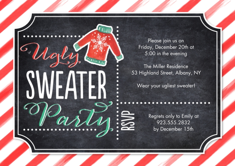 Christmas & Holiday Party Invitations 5x7 Cards, Premium Cardstock 120lb, Card & Stationery -Holiday Ugly Sweater Stripes Party