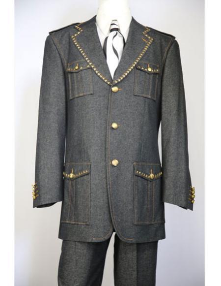 Mens black naval style quad pocket denim 3pc zoot fashion suit