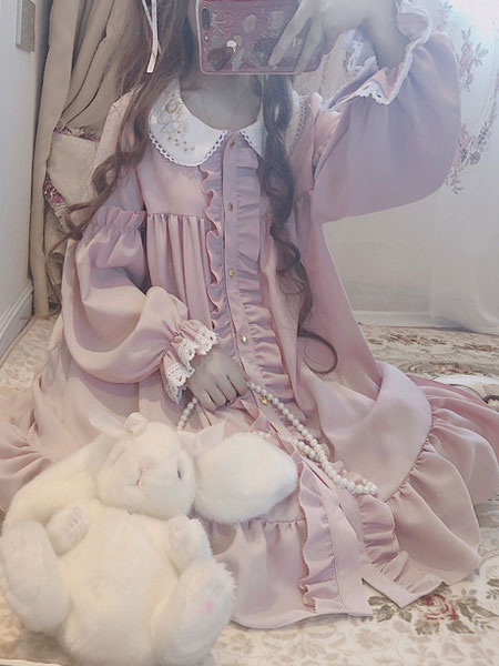 Milanoo Sweet Lolita OP Dress Stars Pink Ruffle Long Sleeves Lolita One Piece Dresses