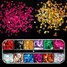 1box Butterfly Shaped Nail Art Decoration Sequin