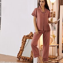 Contrast Binding Pocket Front Pajama Set