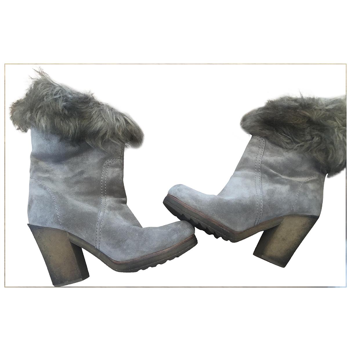 Prada - Boots   pour femme en suede - beige