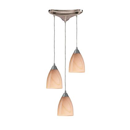 527-3SY 3 Light Pendant in Satin Nickel and Sandy