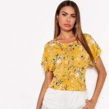 Batwing Sleeve Floral Top