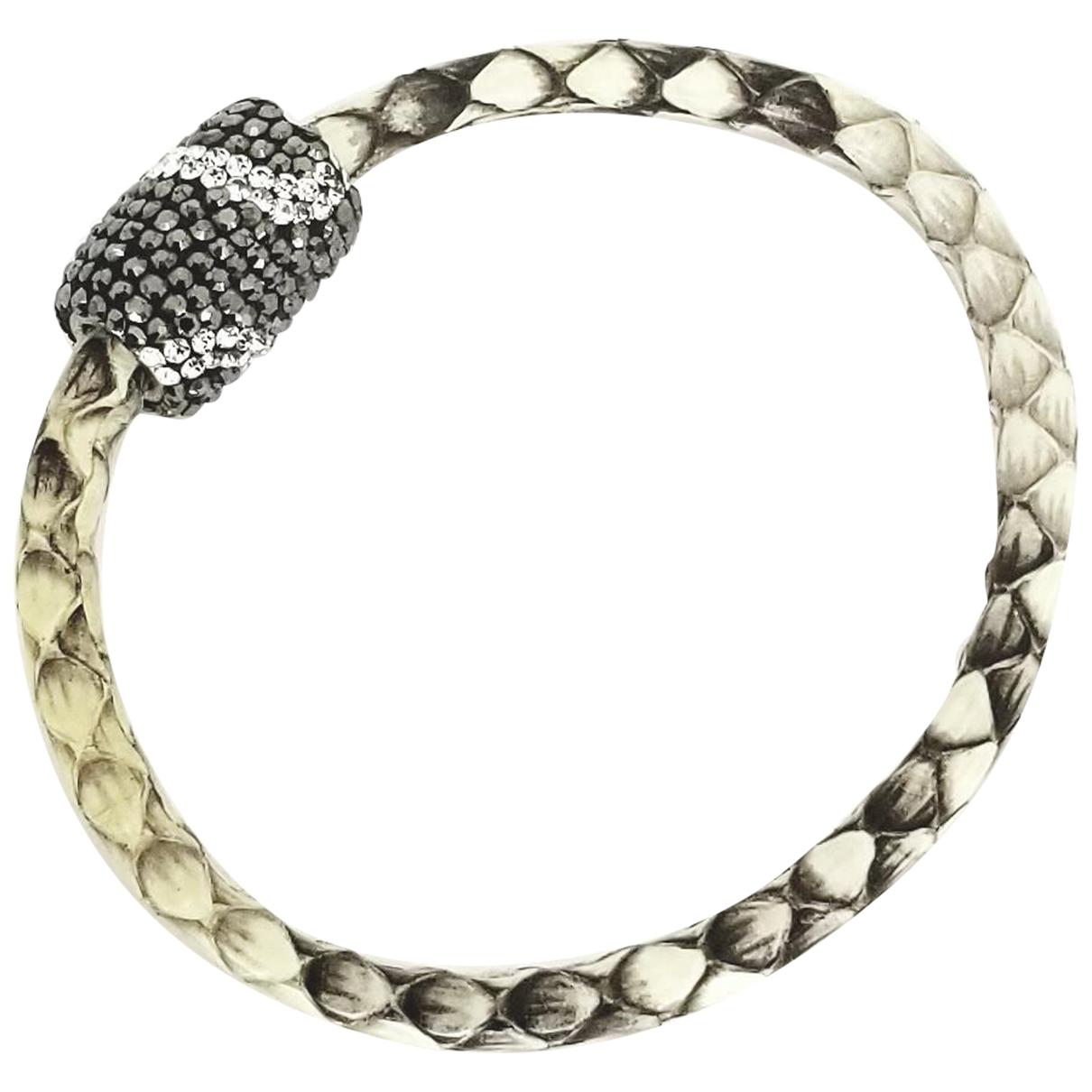 - Bracelet   pour femme en cuir - argente