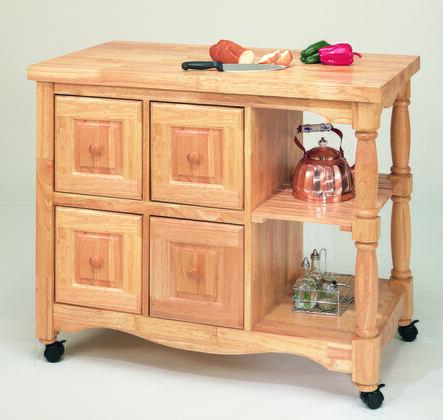 DCY-CRT-03-LO Regal Kitchen Cart in Light Oak