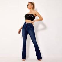 BLUES Jeans mit dunkler Waschung und ausgestelltem Beinschnitt