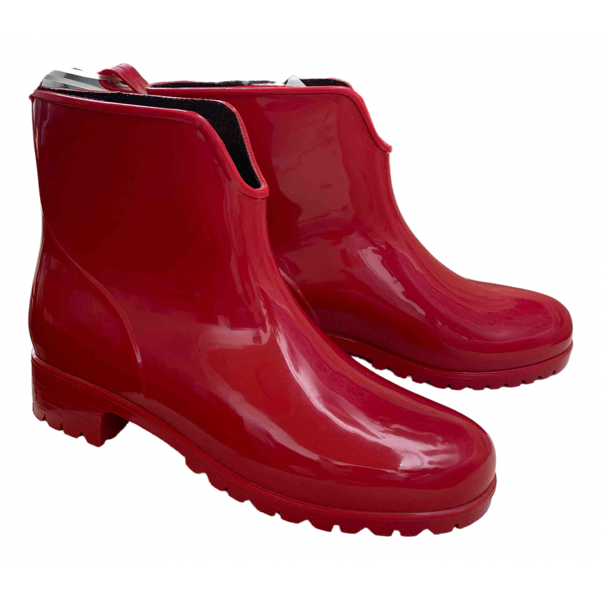 Non Signe / Unsigned \N Stiefel in  Rot Kunststoff