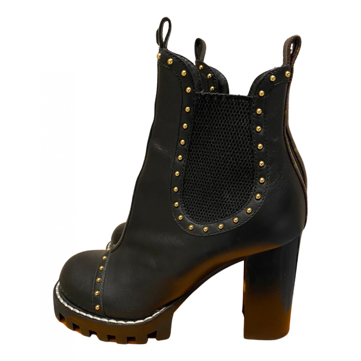 Louis Vuitton N Anthracite Leather Ankle boots for Women 37 EU