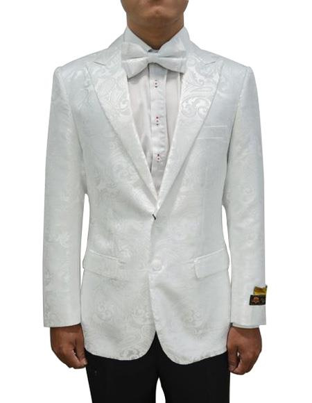 Cheap Mens Printed Flower Jacket Prom modern Tux White