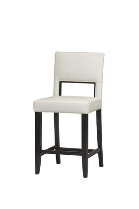 14053WHT-01-KD-U Vega Collection Counter Height Stool with Solid Wood Frame and Vinyl Upholstery in White