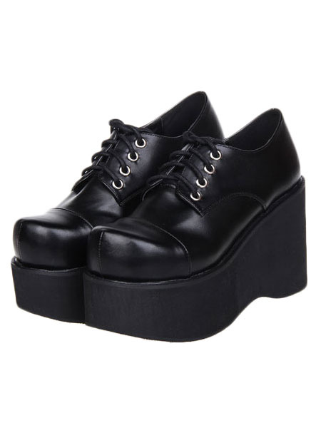 Milanoo Matte Black Lolita High Platform Shoes Shoelace Design