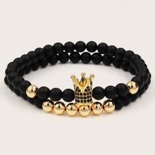 2 Stuecke Maenner Armband mit Krone Dekor und Perlen