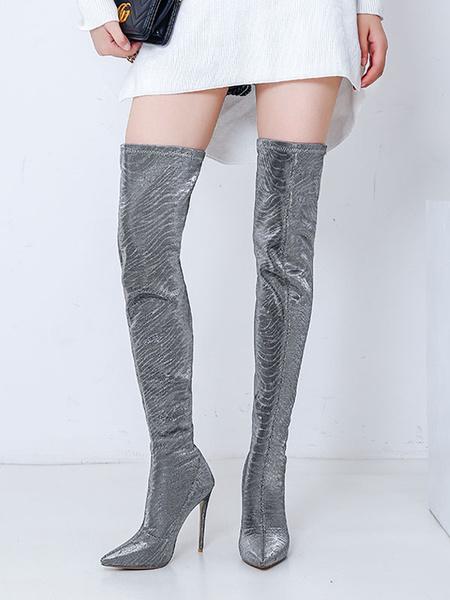 Milanoo Botas sobre la rodilla Tacones de aguja con punta puntiaguda azul real Botas de invierno para mujer