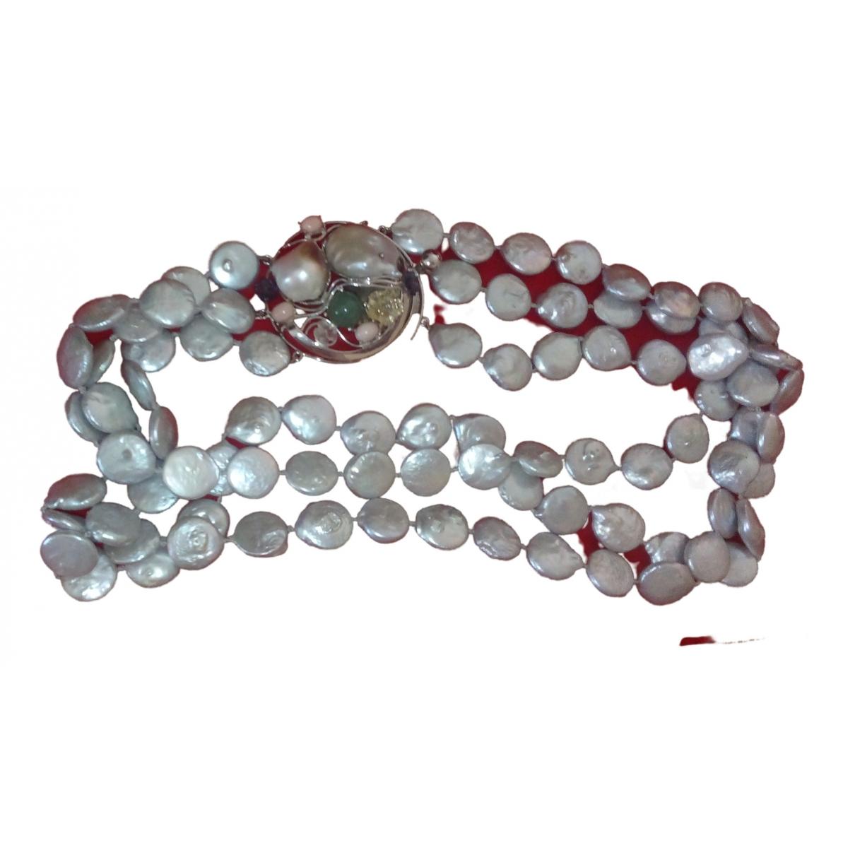 - Collier   pour femme en perle - gris
