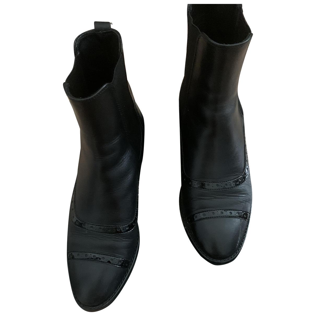 Massimo Dutti \N Stiefeletten in  Schwarz Leder
