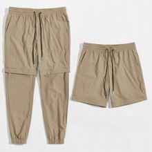 Pantalones con cremallera de cintura con cordon