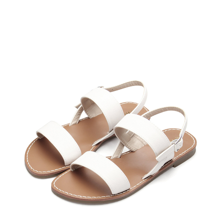 Yoins White Leather look Pin Buckle Strap Simple Flat Sandals