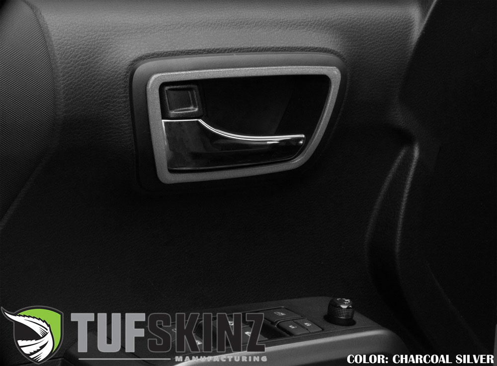 Tufskinz TAC044-CLG-G Access Cab Door Handle Surround Accent Trim Fits 16-up Toyota Tacoma 4 Piece Kit Charcoal Silver Similar to Magnetic Gray
