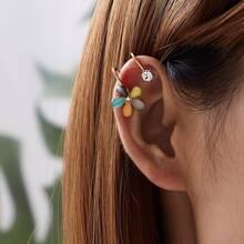 Flower & Rhinestone Decor Ear Cuff 1pair