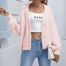 Solid Drop Shoulder Fuzzy Cardigan