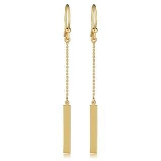 "Fremada Italian 14k Gold Bar Drop Earrings, 2.1"" (yellow gold or rose gold or white gold) (Yellow)"