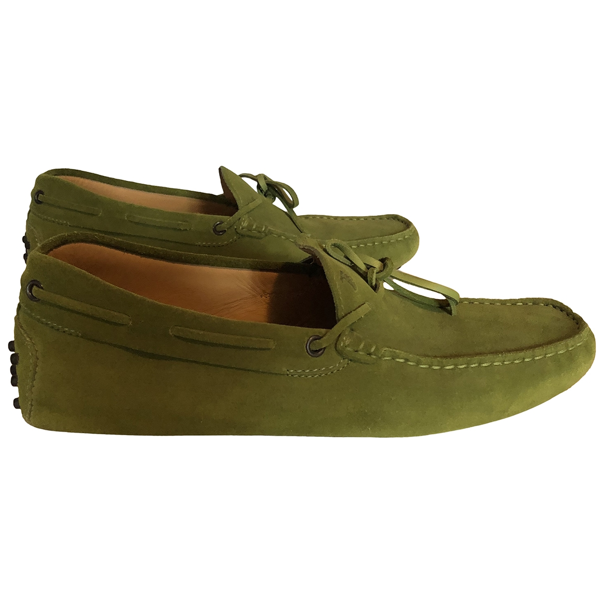 Tod's Gommino Green Suede Flats for Men 8 UK