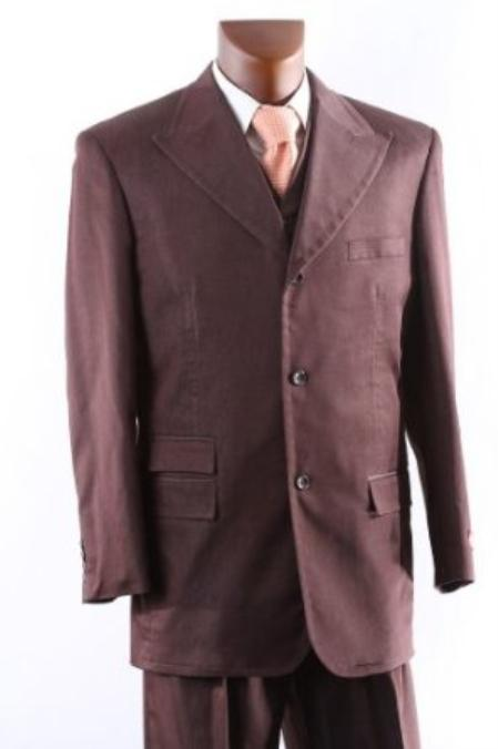Single Breasted Three Button Cocoa Vested Suit with Peak Lapel