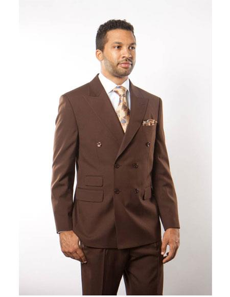 Mens Double Breasted Solid Pattern Brown Peak Lapel Button ClosureSuit