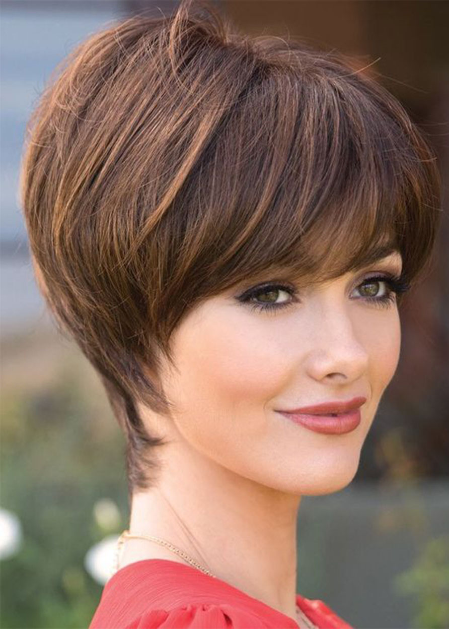 Human Hair Women Lace Front Cap Natural Straight 8 Inches 120% Wigs Heat Resistant Natural Looking Daily Party Wigs Cosplay Wigs with Natural Bangs wi