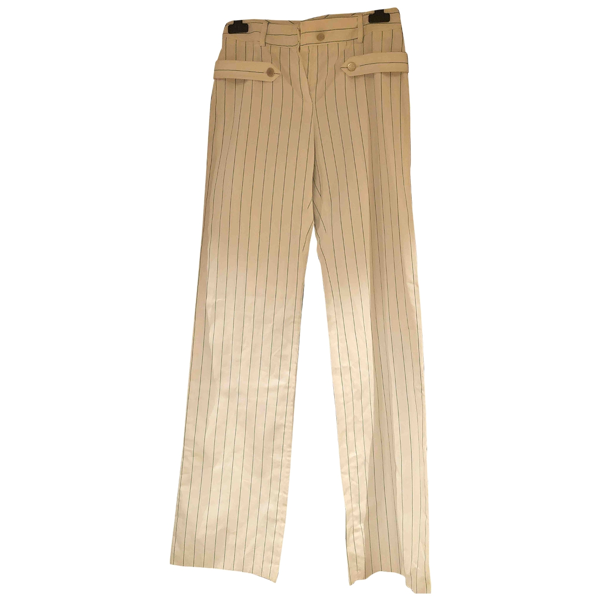 Valentino Garavani \N White Cotton Trousers for Women 38 IT