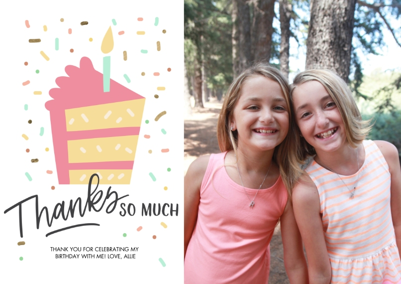 Thank You Cards 5x7 Cards, Premium Cardstock 120lb with Elegant Corners, Card & Stationery -Thank You Confetti Cake by Tumbalina