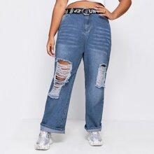 Plus Ripped Boyfriend Jeans Without Belt