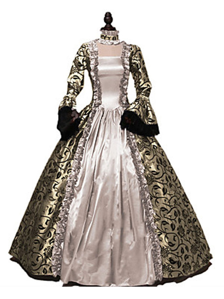 Milanoo Victorian Dress Costumes Blond Print Lace Ruffle Trumpet Long Sleeves Square Neckline With Choker Victorian Era Clothing Vintage Costumes Clot