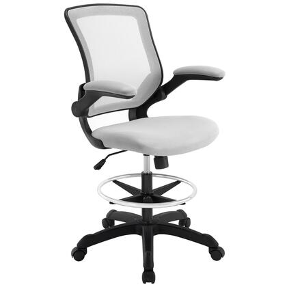 Veer Collection EEI-1423-GRY Drafting Chair with 90 Degree Flip-Up Arms  Pneumatic Height Adjustment  Casters  Seat Tilt Tension Control  Nylon Base