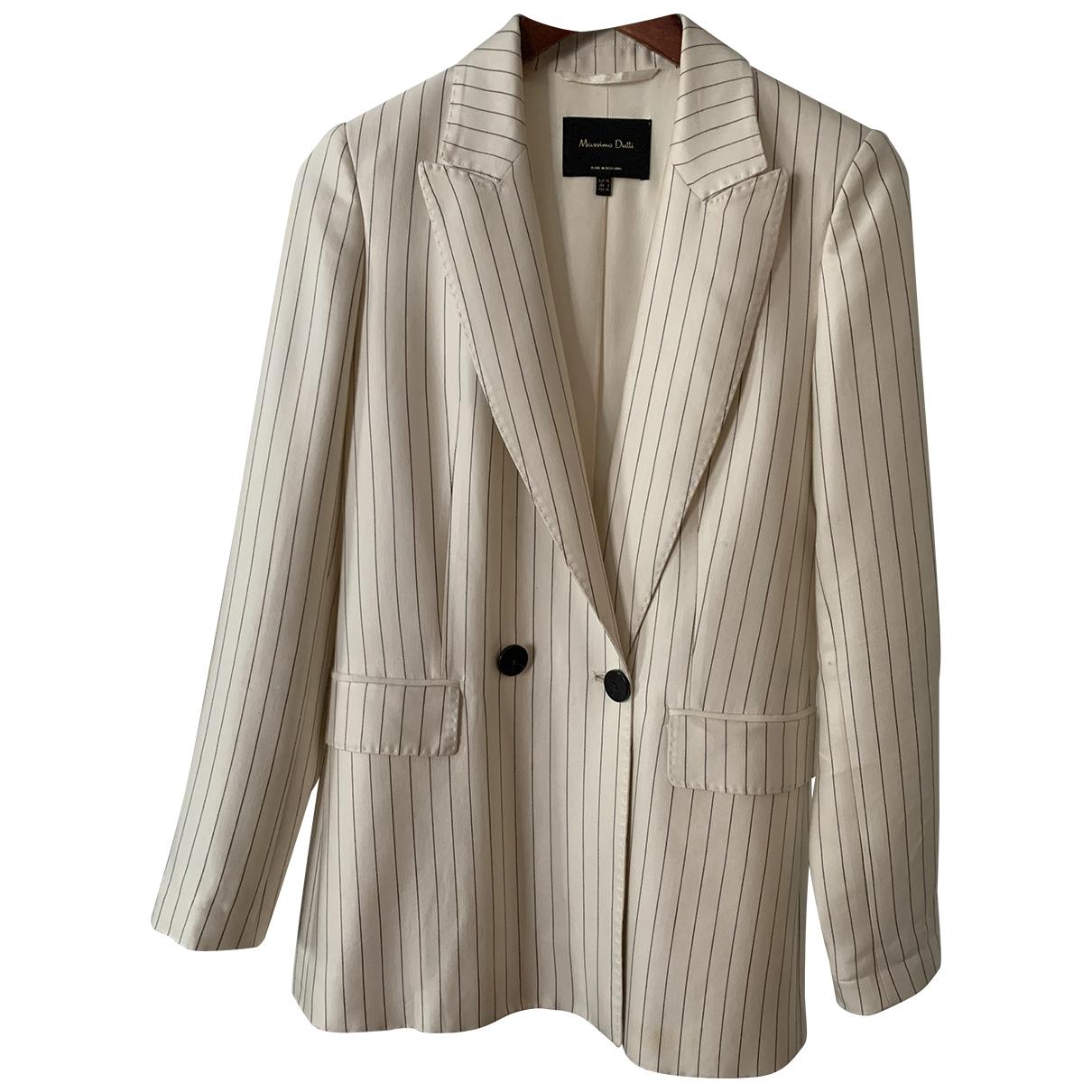 Massimo Dutti - Veste   pour femme en coton - blanc