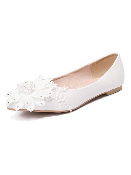 Milanoo Zapatos de novia de PU Zapatos de Fiesta Plana Zapatos blanco  Zapatos de boda de puntera puntiaguada 1cm con flor
