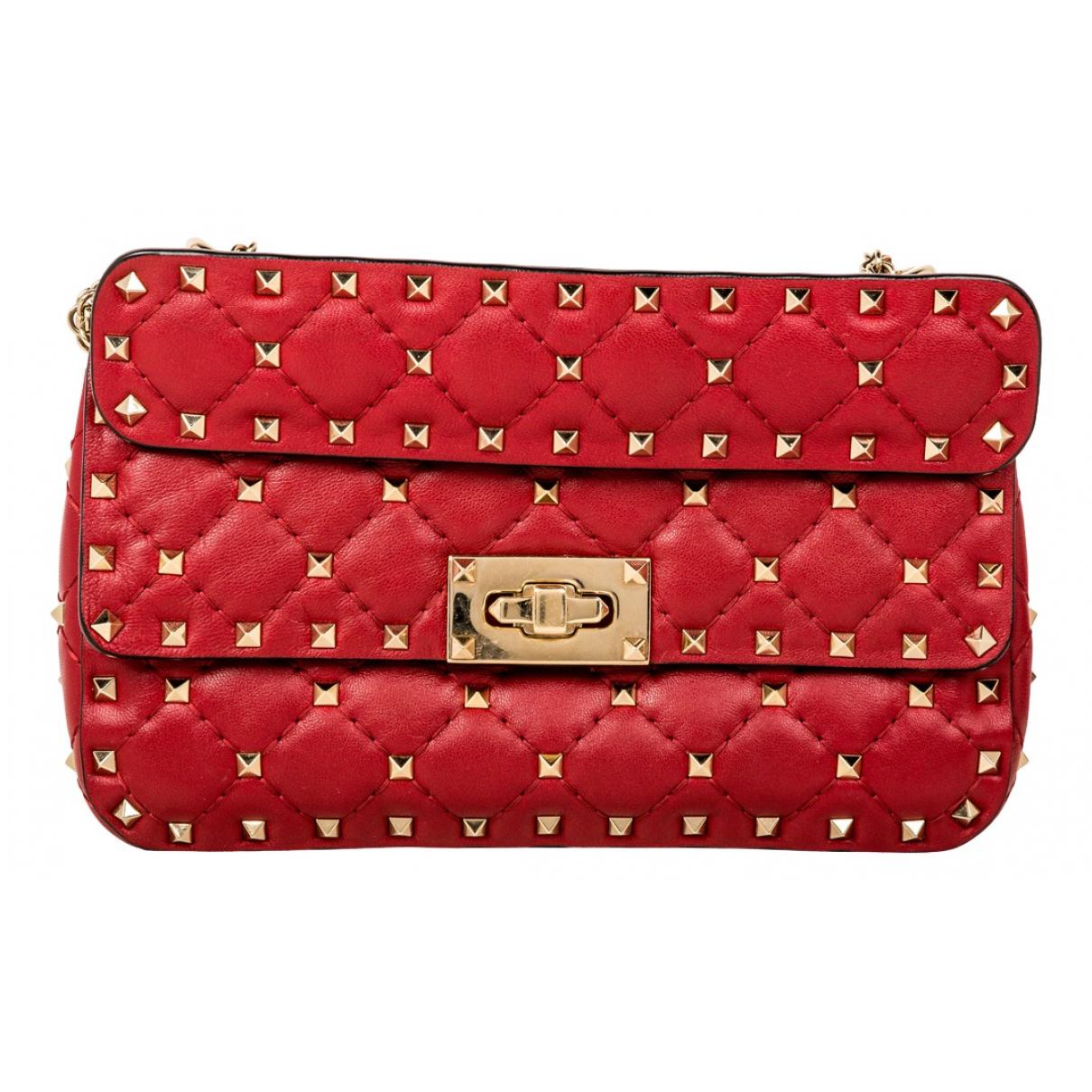 Valentino Garavani Rockstud spike Handtasche in  Rot Leder