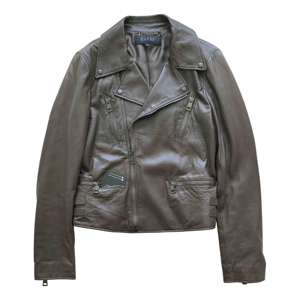 Gucci N Brown Leather jacket for Women M International