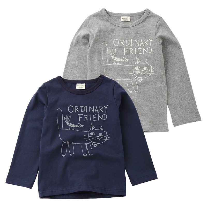 Cute Cat Printed Boys Girls Long Sleeve Cotton T-Shirt For 2Y-9Y