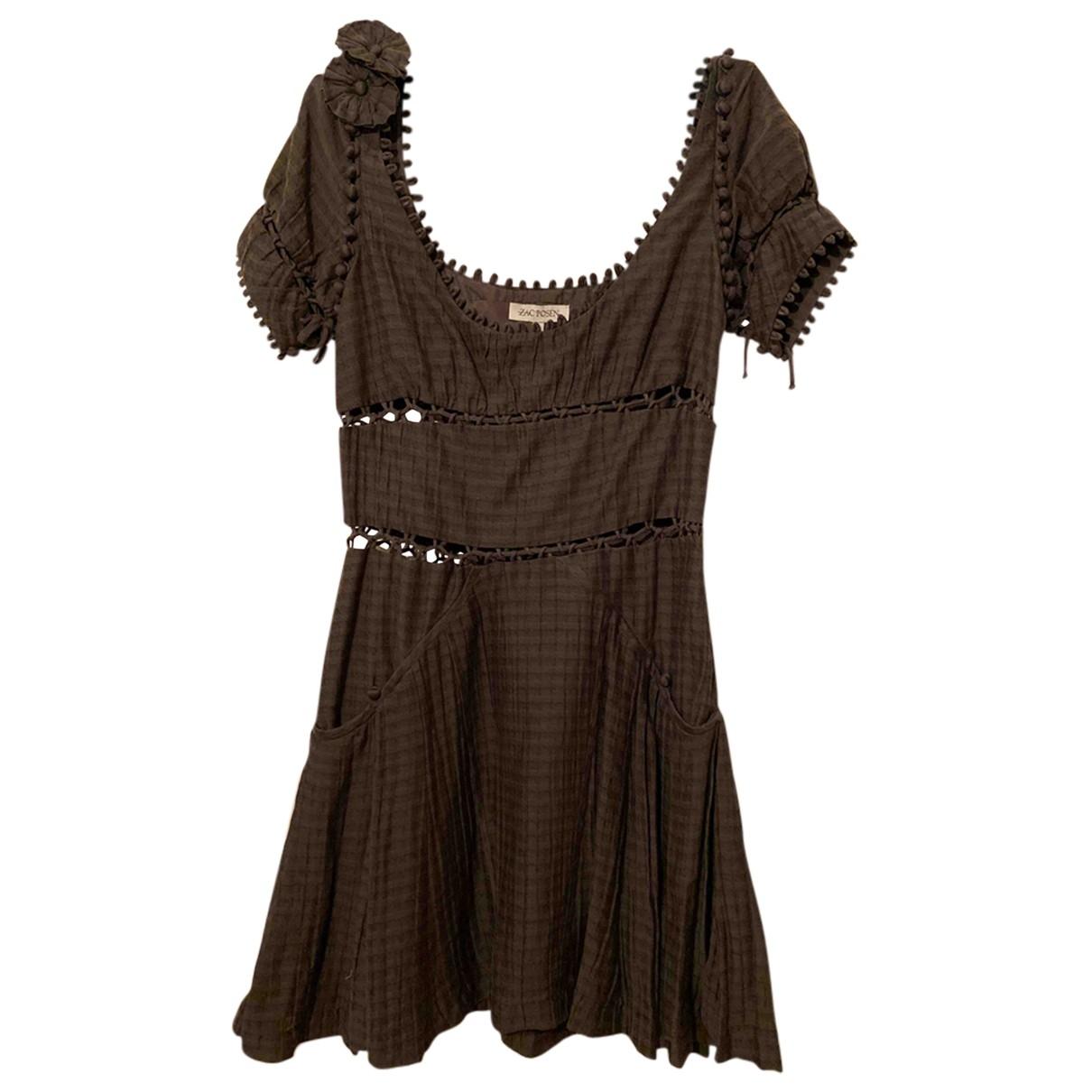 Zac Posen \N Kleid in  Grau Seide