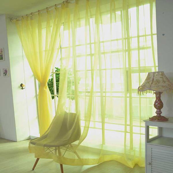 Modern Pure Colored Yellow Custom Sheer Curtain